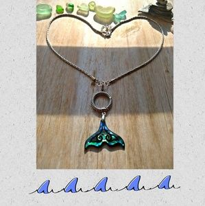 Shell Whale/Mermaid Tail Silver Pendant  Necklace